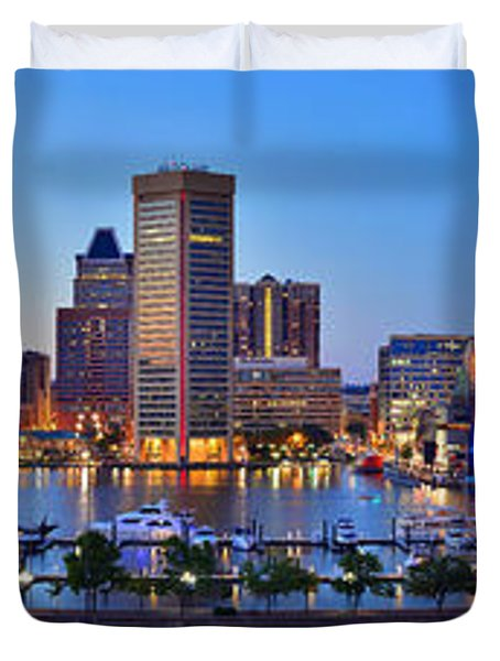 Baltimore Skyline Inner Harbor Panorama At Dusk Duvet Cover