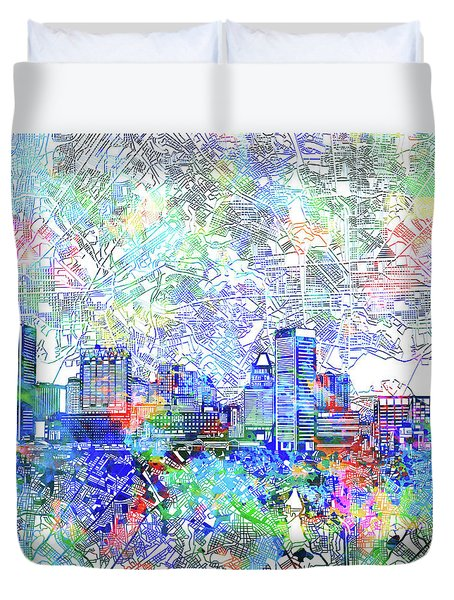 Duvet Cover featuring the painting Baltimore Skyline Watercolor 10 by Bekim Art