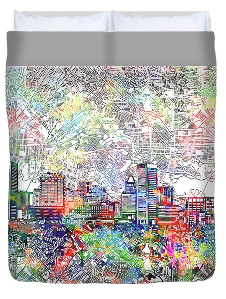 Duvet Cover featuring the painting Baltimore Skyline Watercolor 11 by Bekim Art