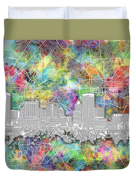 Duvet Cover featuring the painting Baltimore Skyline Watercolor 12 by Bekim Art