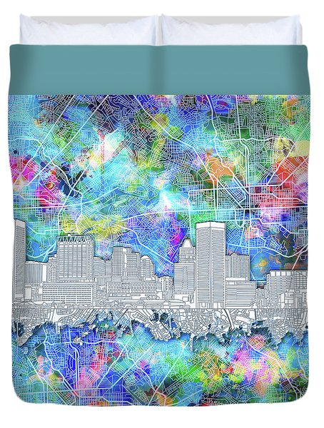 Duvet Cover featuring the painting Baltimore Skyline Watercolor 14 by Bekim Art