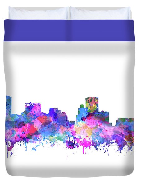 Duvet Cover featuring the painting Baltimore Skyline Watercolor 4 by Bekim Art