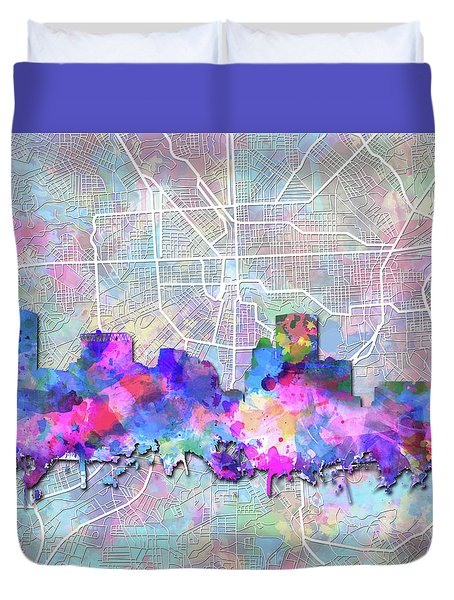 Duvet Cover featuring the painting Baltimore Skyline Watercolor 6 by Bekim Art