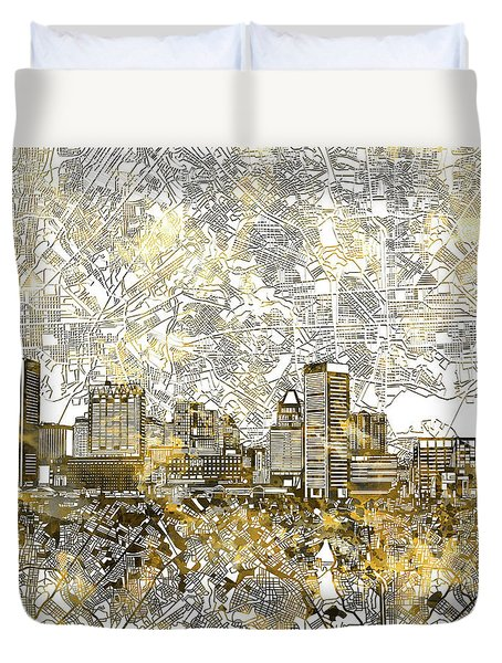 Duvet Cover featuring the painting Baltimore Skyline Watercolor 8 by Bekim Art