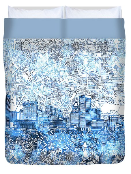 Duvet Cover featuring the painting Baltimore Skyline Watercolor 9 by Bekim Art