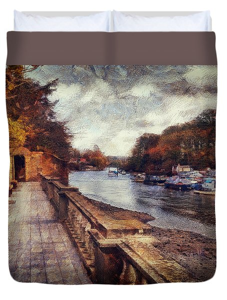 Balustrades And Boats Duvet Cover