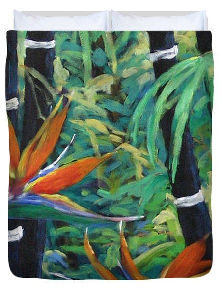 Bamboo And Birds Of Paradise Duvet Cover by Richard T Pranke