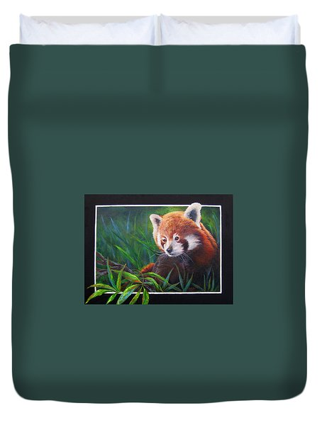 Bamboo Basking--red Panda Duvet Cover by Mary McCullah