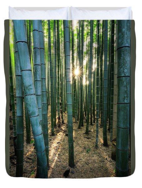 Bamboo Forest At Arashiyama Duvet Cover