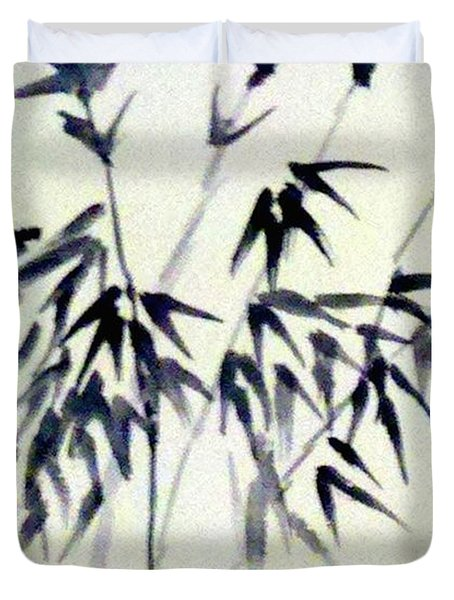 Bamboo In Black Ink Duvet Cover