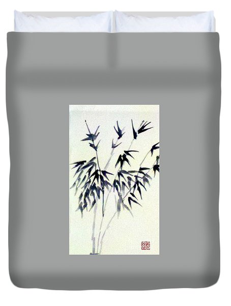 Bamboo In Black Ink Duvet Cover