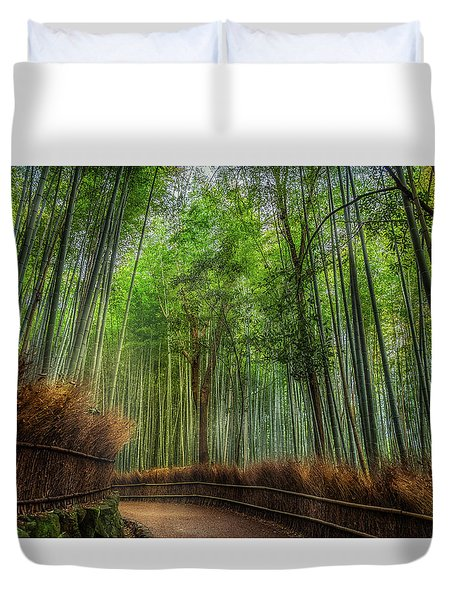 Duvet Cover featuring the photograph Bamboo Path by Rikk Flohr
