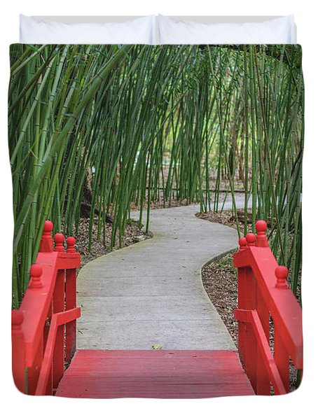 Duvet Cover featuring the photograph Bamboo Path Through A Red Bridge by Raphael Lopez