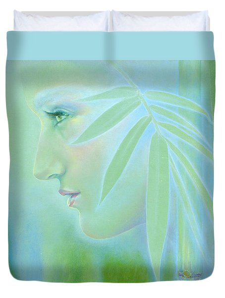 Duvet Cover featuring the painting Bamboo by Ragen Mendenhall