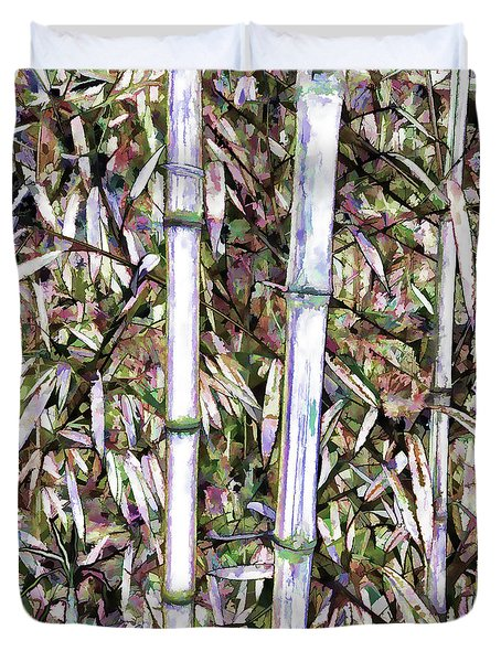 Duvet Cover featuring the painting Bamboo Stalks by Lanjee Chee