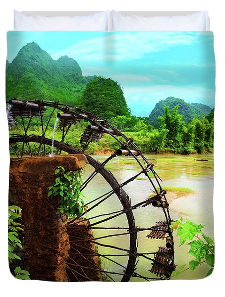 Bamboo Water Wheel Duvet Cover by MotHaiBaPhoto Prints