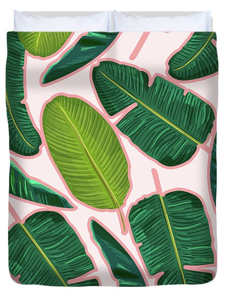 Banana Leaf Blush Duvet Cover