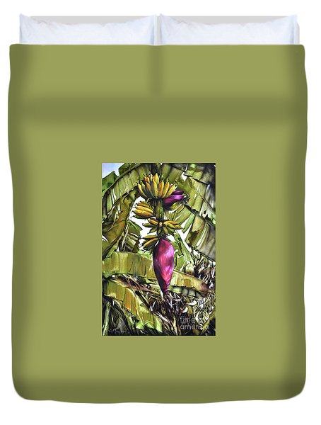 Duvet Cover featuring the painting Banana Tree No.2 by Chonkhet Phanwichien