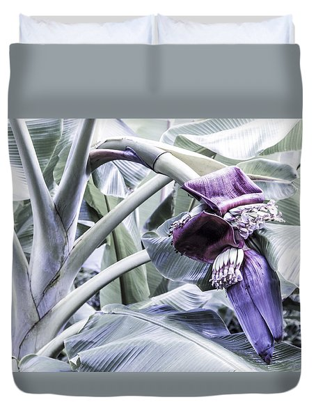 Duvet Cover featuring the photograph Banana Beginnings In Cool Shades by Kerri Ligatich