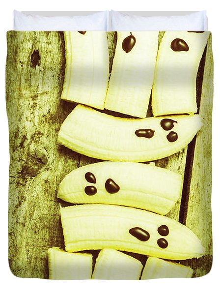Bananas With Painted Chocolate Faces Duvet Cover