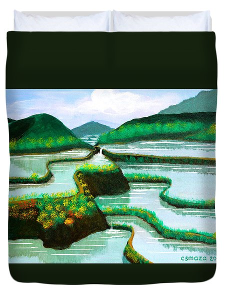 Duvet Cover featuring the painting Banaue by Cyril Maza