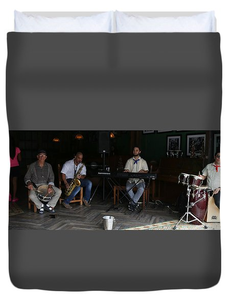 Band With Pink Girl Duvet Cover