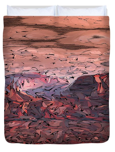 Banded Canyon Abstract Duvet Cover by Judi Suni Hall