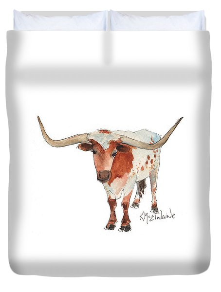 Texas Longhorn Bandero Watercolor Painting By Kmcelwaine Duvet Cover