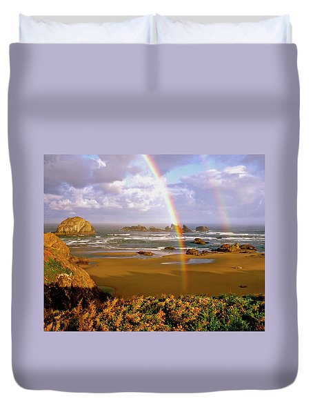 Bandon Beach Rainbow Sunrise Duvet Cover