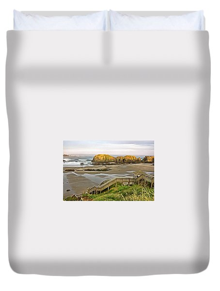 Bandon Beach Stairway Duvet Cover by Thom Zehrfeld
