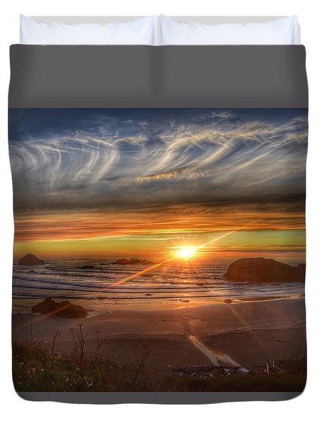 Bandon Sunset Duvet Cover by Bonnie Bruno