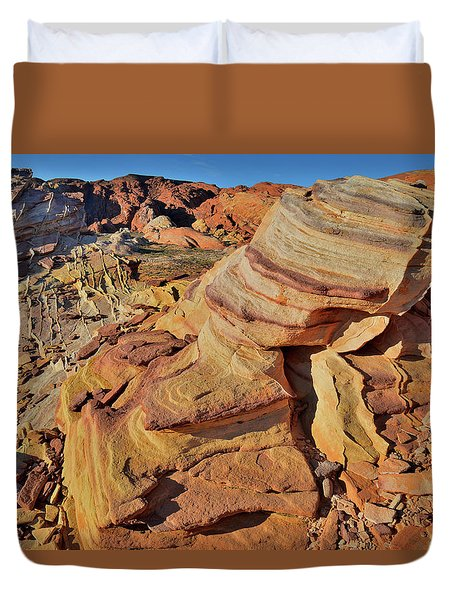 Bands Of Colorful Sandstone In Valley Of Fire Duvet Cover