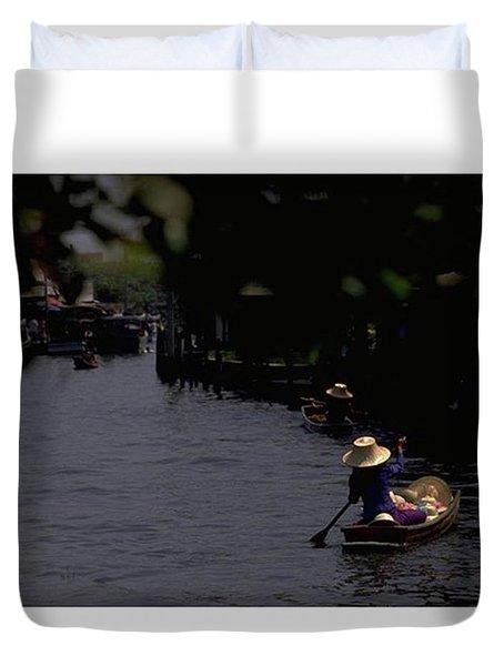Bangkok Floating Market, Thailand Duvet Cover
