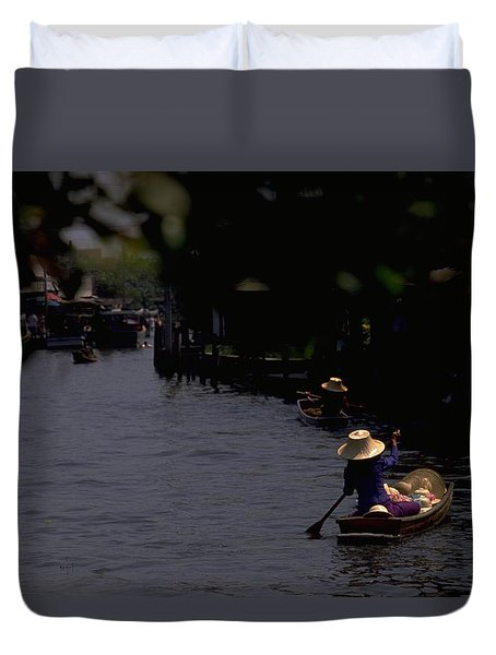 Bangkok Floating Market Duvet Cover