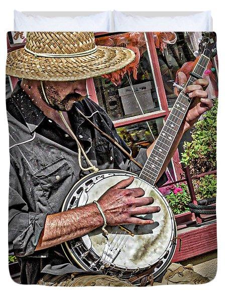 Banjo Man Orange Duvet Cover