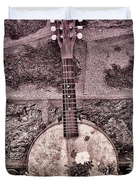 Banjo Mandolin On Garden Wall Duvet Cover by Bill Cannon