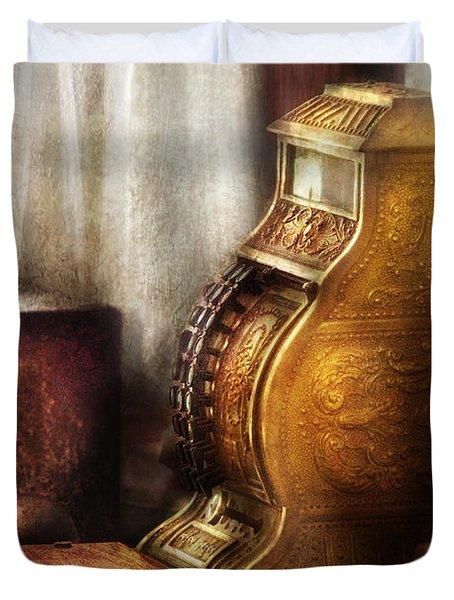 Banker - Brass Cash Register  Duvet Cover by Mike Savad