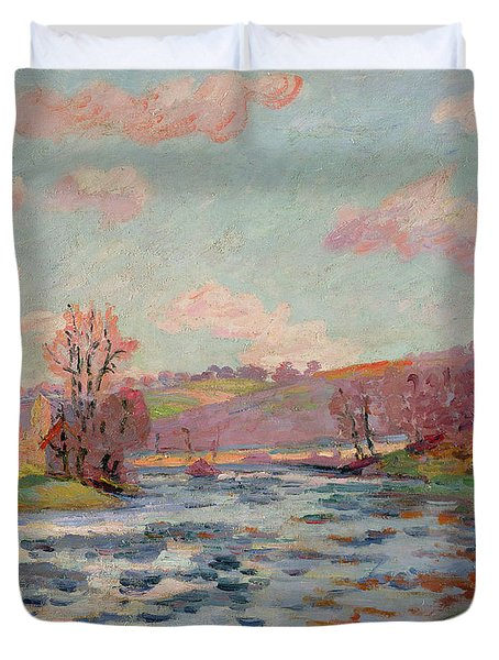 Banks Of The Creuse Duvet Cover by Jean Baptiste Armand Guillaumin
