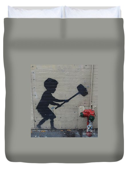 Banksy In New York Duvet Cover