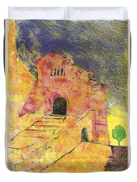 Duvet Cover featuring the painting Banon Village In Provence by Martin Stankewitz