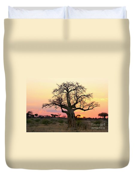 Baobab Tree At Sunset  Duvet Cover