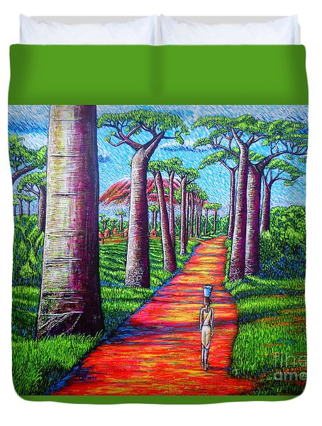 Duvet Cover featuring the painting Baobab by Viktor Lazarev