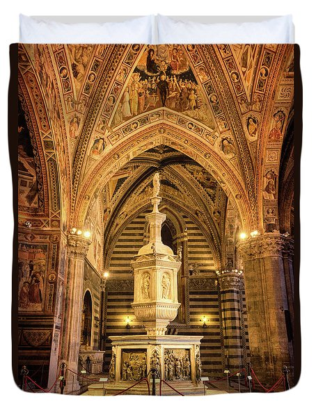 Duvet Cover featuring the photograph Baptistery Siena Italy by Joan Carroll