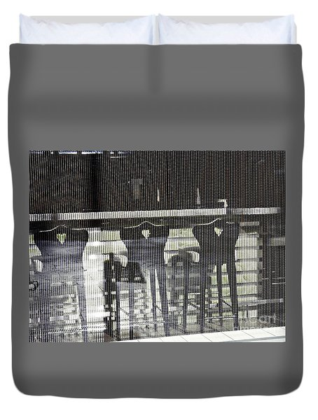 Duvet Cover featuring the photograph Bar And Stools by Sarah Loft