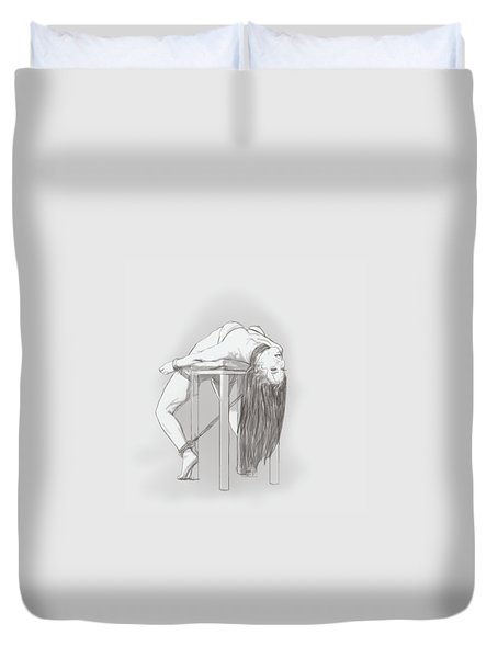 Duvet Cover featuring the mixed media Bar Chair Bw by TortureLord Art