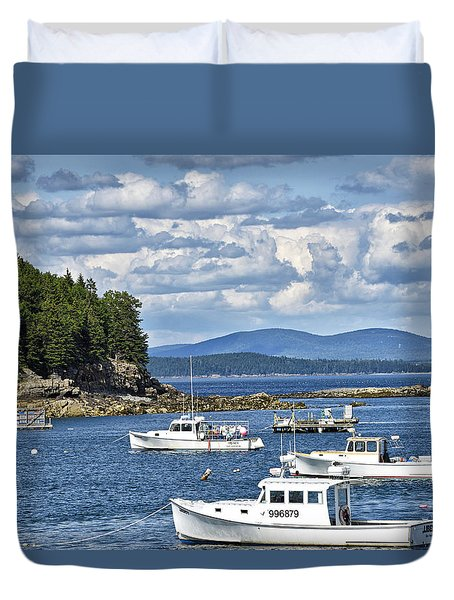 Bar Harbor Lobster Boats - Frenchman Bay Duvet Cover