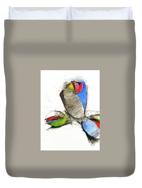 Duvet Cover featuring the drawing Bar Nickle  by Cliff Spohn