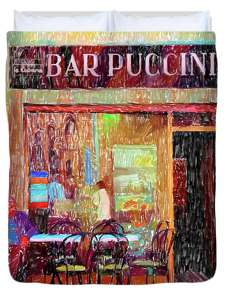 Bar Puccini Lucca Italy Duvet Cover by Wally Hampton