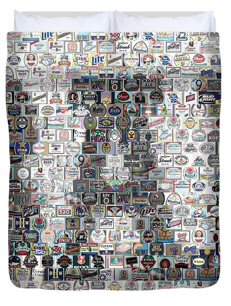 Duvet Cover featuring the mixed media Bar Sign Beer Label Mosaic by Paul Van Scott