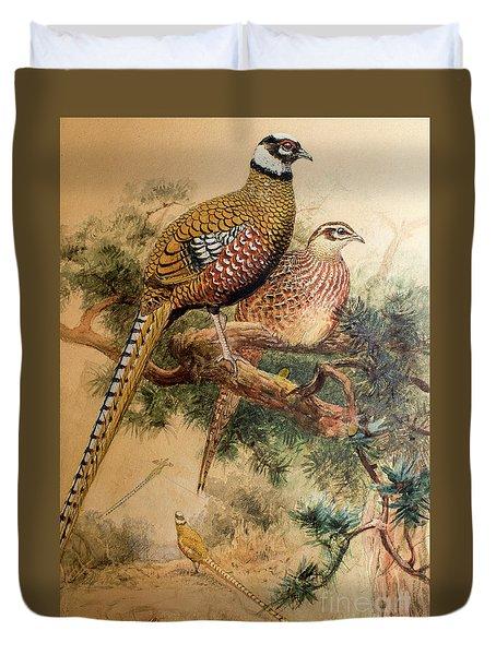 Bar-tailed Pheasant Duvet Cover by Joseph Wolf